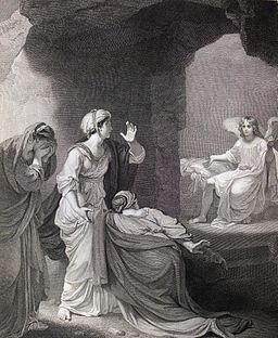 264_Life_of_Christ_Phillip_Medhurst_Collection_4547._The_empty_tomb._Mark_16.5_Smirke